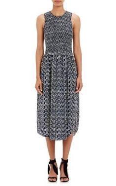 Ulla Johnson Smocked Silk Cowrie Dress at Barneys New York