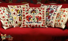 Suzani pillows from Uzbekistan.