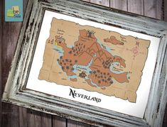 "Disney Peter Pan inspired Baby Children Boy or Girl Birth Gift idea Nursery room wall art decor ""Neverland"" - Print - Baby Boy Rooms, Baby Boy Nurseries, Baby Room, Kids Rooms, Peter Pan Art, Peter Pans, Peter Pan Decor, Disney Peter Pan, Neverland Nursery"