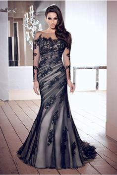 2014 Elegant Evening Dresses Mermaid Black Scoop Tulle With Applique Chic Mother Of Bridal Dresses