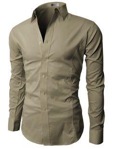 4b05601ee950 H2H Mens Wrinkle Resistant Slim Fit Dress Long Sleeve Shirts with Various  Colors BEIGE US S