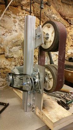 I could not affford one, so I built one. Made fro. Metal Working Tools, Metal Tools, Wood Tools, Diy Tools, Diy Belt Sander, Belt Grinder Plans, Knife Making Tools, Sharpening Tools, Blacksmith Tools