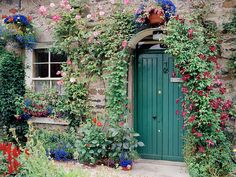 European photo of stone cottage with teal door near Loch Lomond, Scotland by Dennis Barloga | Photos of Europe: Fine Art Photographs by Dennis Barloga