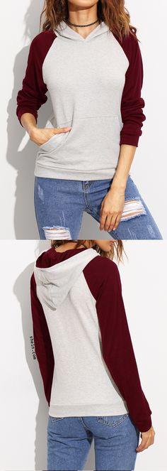Grey contrast raglan sleeve hooded sweatshirt.