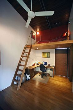 Loft Bedroom and Workspace Design at 27 East Sussex Lane by ONG