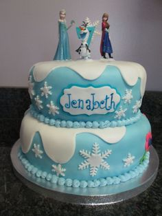 Frozen cake I made for a girl's 7th birthday party!!