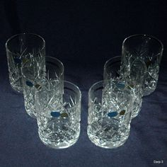 Vintage Cut Crystal Glass Whiskey Tumbler Glass With By