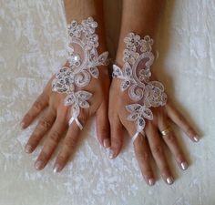 free ship white or ivory scaly Wedding gloves by WeddingGood