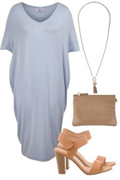Outfit of the Day: A powder blue shift adds softness and light to your spring wardrobe. Pair with tan heels and simple jewellery for a chic Friday look.
