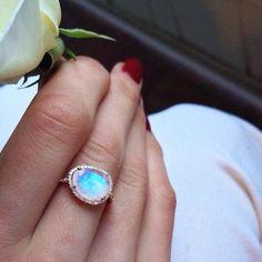 14kt rose gold and diamond single band moonstone ring- Luna Skye by Samantha Conn