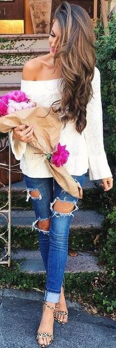 White Slouchy Sweater + Jeans                                                                             Source