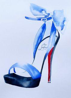 Christian Louboutin Original Watercolour Fashion Illustration High Heel Shoes