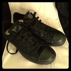 Black Converse Black Chuck Taylor low top sneakers. I wore the around the house, but I just didn't like them. There isn't a box, but I will try to find one to send if needed. Converse Shoes Sneakers