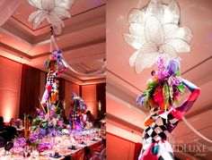 "Cirque themed wedding with live ""centerpieces."" Crazy."