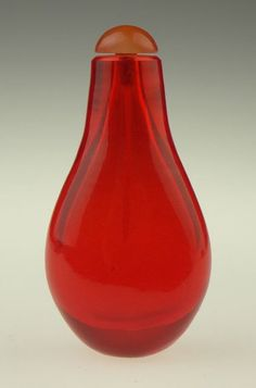19th Chinese Red Peking Glass Snuff Bottle with Co