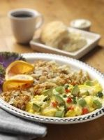 California Avocado Scramble: Scrambled eggs with sautéed spinach, bell peppers & onions with diced California Avocados.