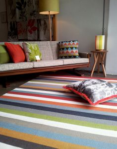 Southwood Home Styled by Southwood Home an Armadillo Multi Ribbon Striped Rug Striped Sofa, Rug World, Beige Sofa, Room Colors, Interior Design Inspiration, Interior Design Living Room, Colorful Interiors, Home Accessories, Illustration