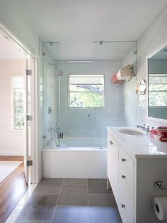 Example of very narrow bathroom, bit doors open to bedroom, to open space. Bathroom Design, Pictures, Remodel, Decor and Ideas - page 53
