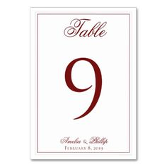 Elegant Garnet Red and White Wedding Table Numbers #wedding #suites #reception #party