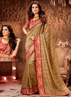 Classical Brown Silk With Red Patch Border Work Printed  Designer Saree http://www.angelnx.com/featuredproduct