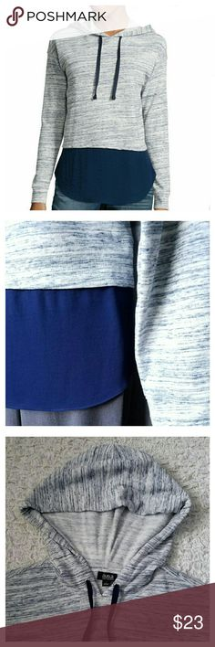 "a.n.a Long-Sleeve Layered-Look Hoodie Sweatshirt Take the hoodie look a step further with a trendsetting layered-look top.  Roundneck with drawstring hood.  Long sleeves.  Cotton/polyester blend. Machine W&D  Colors: Indigo & Navy  Laying flat: Shoulders 22"" Bust 23"" Hips 23"" Length 27"" a.n.a Tops Sweatshirts & Hoodies"