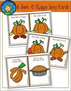 Jack o Happy Song Cards for Preschool and Kindergarten