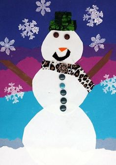 Snowman Landscape, good and simple for grade 2 after break