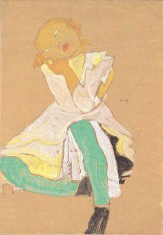 Crouching Girl, Egon Schiele 1910