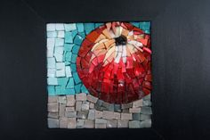 Mosaic art  Apple smalti in dark wooden frame by piecesofelma, €45.00