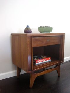 Mid Century Modern Walnut Nightstand Side Table by rhanvintage,