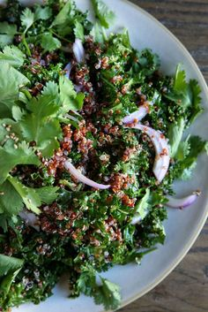 Kale and Red Quinoa Salad with Spicy Sesame Dressing Recipe