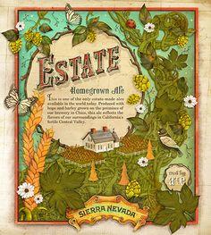 Estate Homegrown Ale Label Illustration