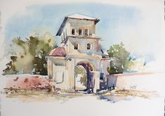 Watercolor version, one week later. Step By Step Watercolor, Easy Watercolor, Watercolor Paintings, Watercolors, Bucharest Romania, Watercolor Techniques, Entrance, Tower, Landscape