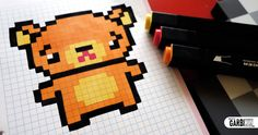 Handmade Pixel Art - How To Draw Kawaii Teddy Bear #pixelart