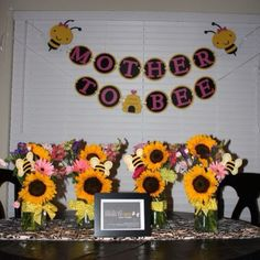 Mother to bee baby shower theme that I hosted.  Pinwheel lane created all of the paper products.