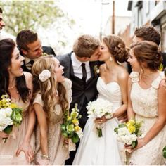 obsessed with this picture. tan bridesmaids dresses=the best idea ever