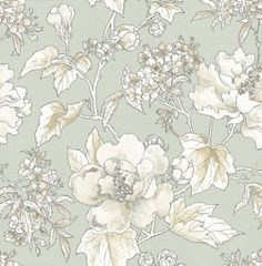Benington (NCW4103-01) - Nina Campbell Wallpapers - A painterly floral in soft monochrome. Shown here on a aqua blue background - more colours are available. Please request a sample for true colour match.