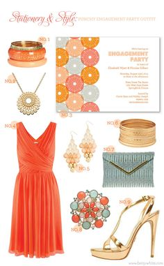 Stationery & Style: Punchy Engagement Party Outfit | #partyinvitations #engagementparty