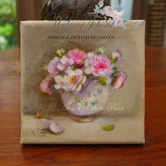 Campagne chic❄ Peinture originale  ❄ Tableau ❄ Petit bouquet de roses anciennes  ❄❄  antique rose painting ❄❄ Shabby chic