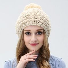 Fashion hairball beanie beret hat for women bead decorative knit hat
