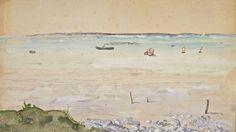 Le Havre vu de Honfleur. Aquarelle et gouache de Pierre Puvis de Chavannes