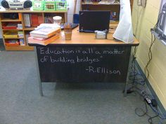 I made this for my classroom.  Salvaged desk+chalkboard paint+good quote=Classroom DIY Coolness!