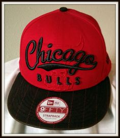newest 15720 47b54 Chicago Bulls Red hat New Era One size adjustable cap NWT NBA Windy city