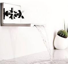 Wall-mounted #waterfall #bathroom tap WATERBLADE by RUBINETTERIE RITMONIO | #design Peter Jamieson