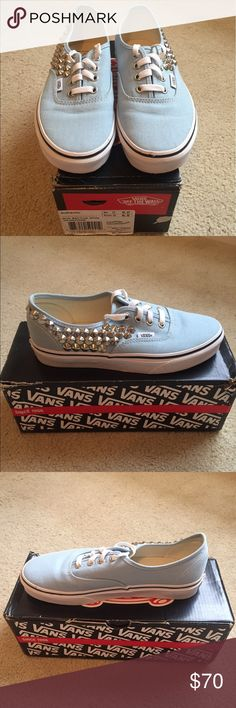 Women's Authentic Blue Bell Studded Vans Size 6.5 Women's Authentic Blue Bell Studded Vans in a size 6.5. Only worn twice, in excellent condition despite a few minor scuffs. The shoes have silver studs glued on with the glue slightly visible (please see photos). The shoes do come in the original box which does show some wear and tear. If you have any questions do not hesitate to ask! Vans Shoes Sneakers