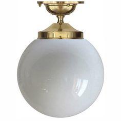 Rörupphäng 100 badrumslampa/taklampa mässing 195 mm klotskärm