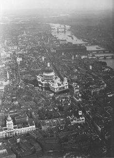 Looking east across (The City), meaning the original medieval walled city towards St. Paul's Cathedral and The Tower of London. Victorian London, Vintage London, Old London, London City, London Wall, London Pictures, London Photos, Old Pictures, Old Photos