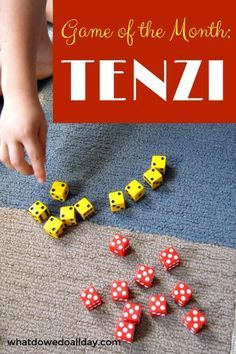 TENZI. Fun family game! We are loving this fast paced dice game. Even my 5 year old picked it up and loves it.