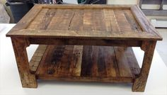 Rustic Coffee Table from Shipping Pallets – 101 Pallets Pallet Furniture, Furniture Projects, Rustic Furniture, Furniture Making, Black Furniture, Reclaimed Wood Projects, Diy Pallet Projects, Home Projects, Pallet Ideas