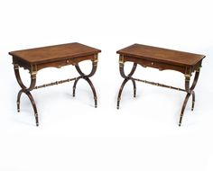 A lovely pair of mahogany side tables in the stunning Empire style.